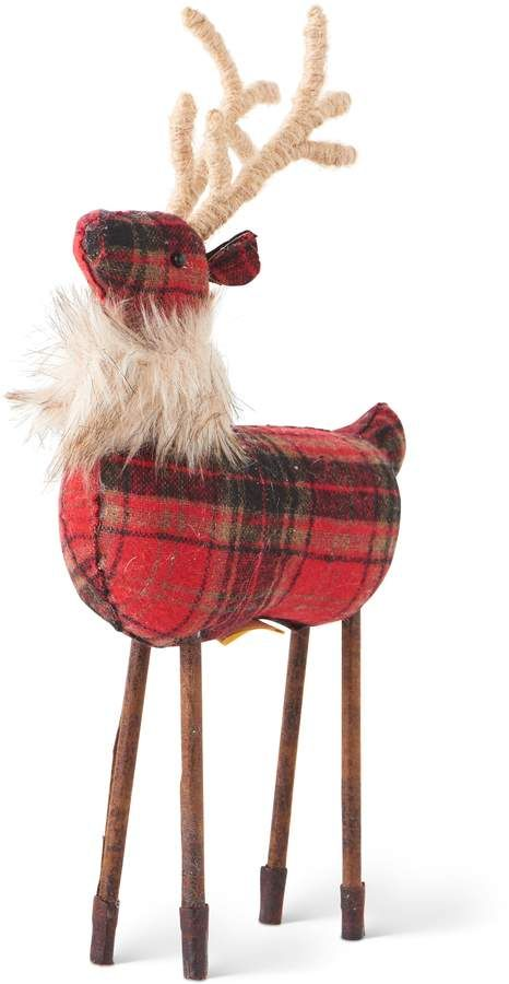 This Plaid & Brown Deer Figurine is perfect! Woodland Christmas, Christmas Art, Christmas Ornaments, Reindeer Christmas, Christmas Projects, Reindeer Decorations, Christmas Decorations, Holiday Decor, Christmas Centrepieces