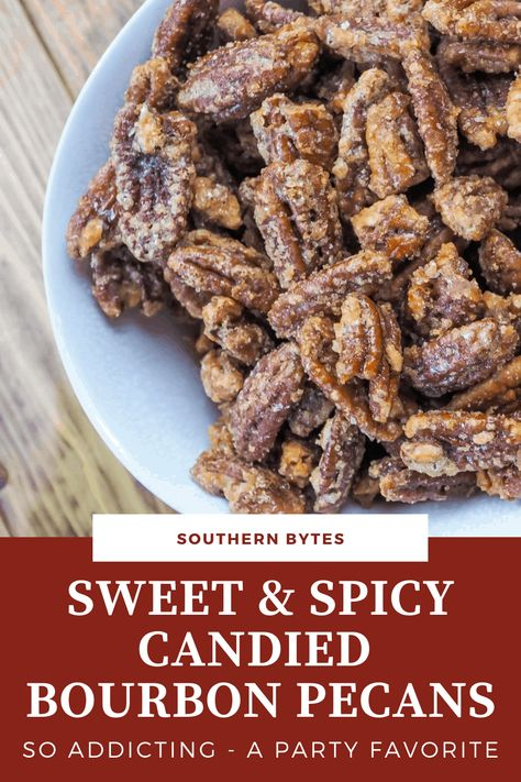 Candied Bourbon Pecans are salty, sweet, and just a little bit spicy. The taste of bourbon is very subtle but it gives these pecans the perfect amount of something extra to make these so delicious.