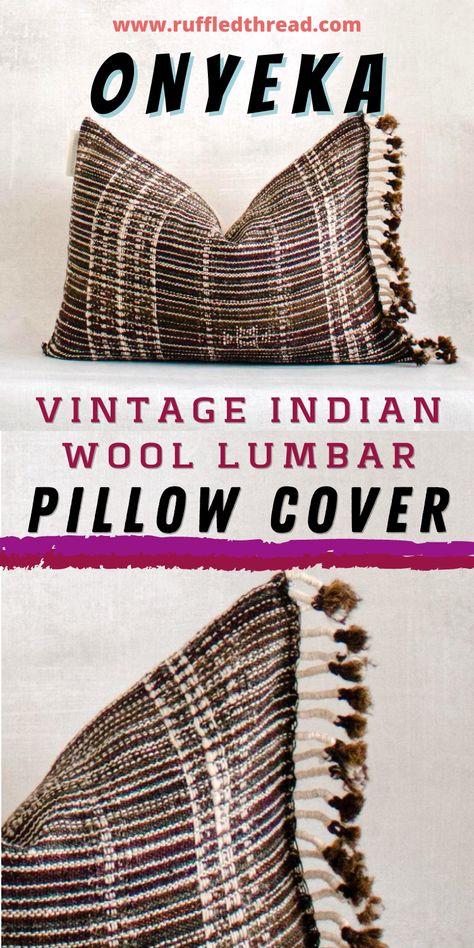 ONYEKA - Handmade Decorative Indian Wool Lumbar Pillow Cover by Ruffled Thread