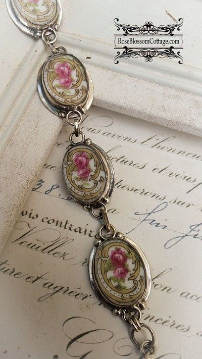 f03be5ebd Oval Broken China Jewelry Pink Roses Gold Scroll Oval Sterling Bracelet