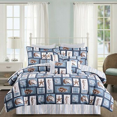 Twin Full Queen King Bed Brown Blue White Coastal Patchwork 7 Pc Comforter Set Comforter Sets Full Comforter Sets Bedding Sets