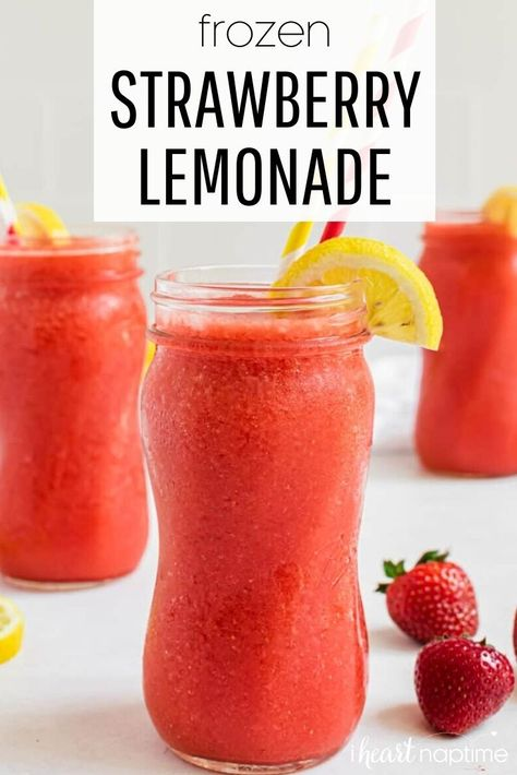 Frozen Strawberry Lemonade, Strawberry Drinks, Fruit Drinks, Frozen Strawberries, Smoothie Drinks, Healthy Drinks, Smoothie Recipes, Beverages, Party Drinks