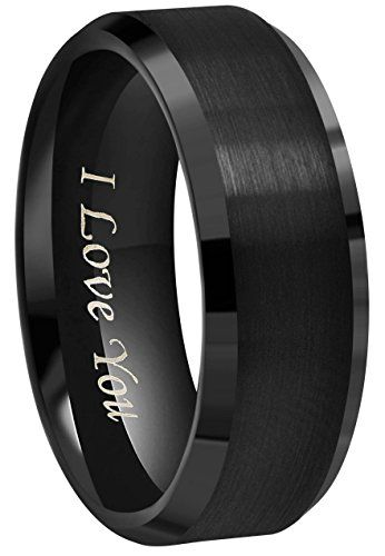6mm 8mm 10mm Black Tungsten Wedding Band Ring Engraved I Https Www Amazon Com D Tungsten Wedding Bands Black Tungsten Wedding Band Wedding Band Engraving