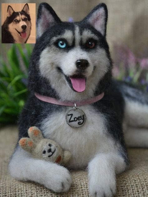 Needle felted Dog Siberian husky Realistic sculpture of your pet Collectible figurine Pet Replica Wo