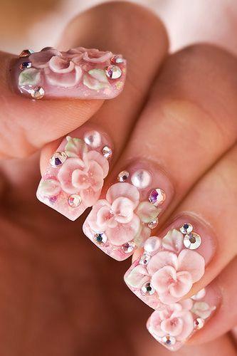 3D flower nail art