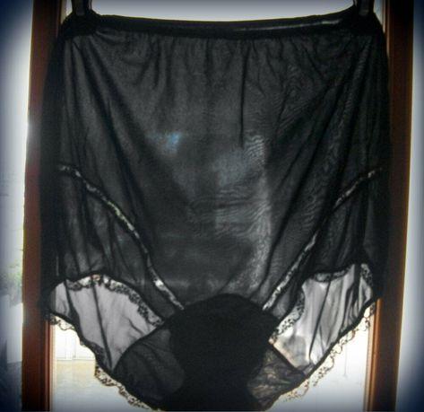 5fccfd5dd600 VINTAGE VAN RAALTE SHEERIO GRANNY PANTIES SIZE 6 Black WITH LACE 100% NYLON  #VanRaalte