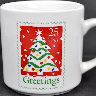 Christmas Tree 1990 Usps Stamp Greetings Vintage Coffee Mug Cup Usa 25 Cent Art Ebay Mugs Vintage Coffee Coffee Mugs