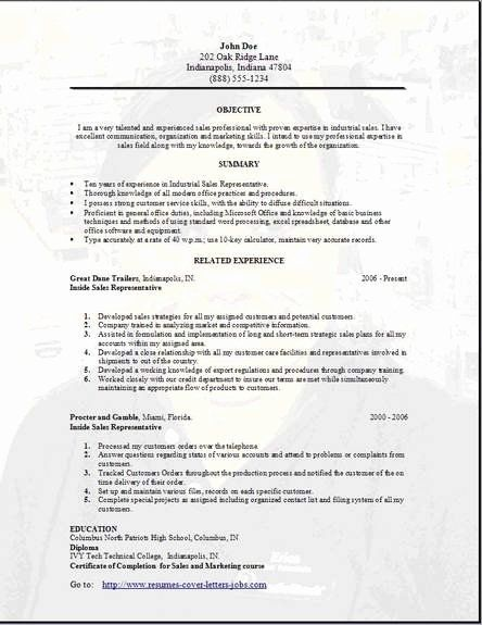 Inside Sales Resume Example Fresh Sales Resume Occupational Examples Samples Free Edit With Word