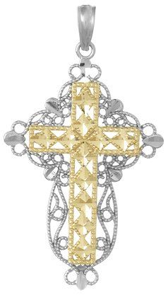 Solid 10k Rose Gold Cross Charm Natal Crucifix Pendant Necklace