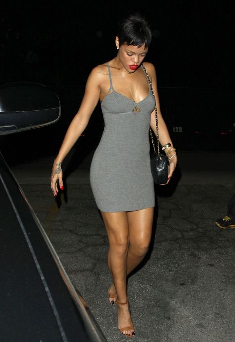 Rihanna just as sexy in this simple gray mini with spaghetti straps