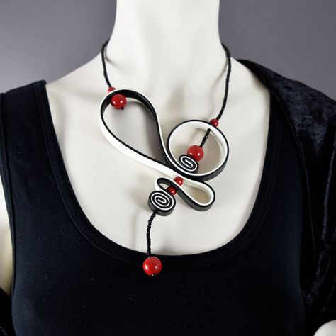 Your place to buy and sell all things handmade Handmade Necklaces, Handmade Jewelry, Unique Jewelry, Rope Jewelry, Jewelery, Leather Necklace, Leather Jewelry, Black And White Necklaces, Soutache Jewelry
