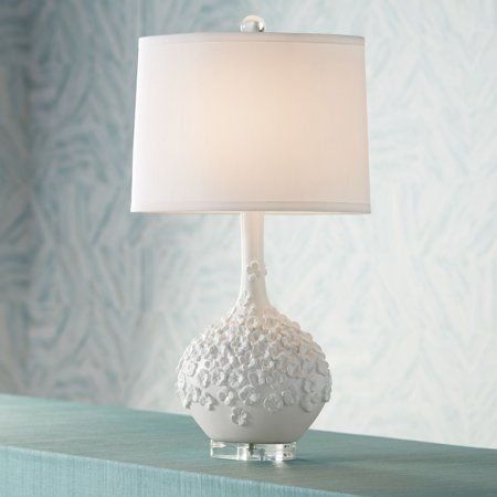 Possini Euro Design Country Cottage Table Lamp White Floral Pattern Tapered Drum Shade For Living Room Fam Table Lamp Modern Table Lamp Design White Table Lamp