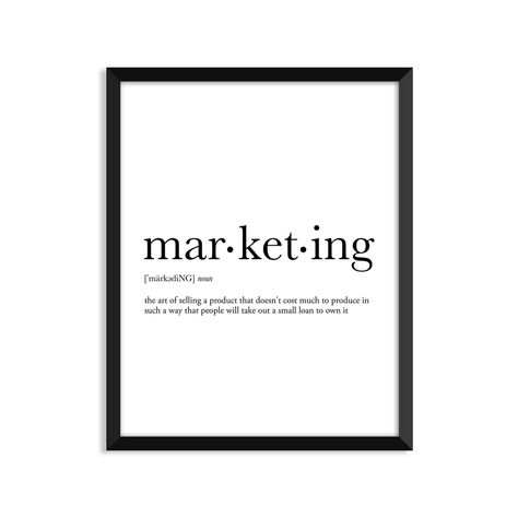 Marketing definition art poster dictionary art print office