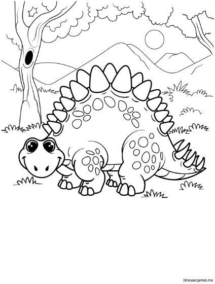 This Cute Stegosaurus Coloring Page From Dinosaur Coloring Pages