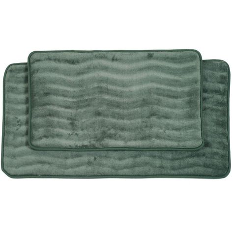 Lavish Home 2 Piece Green Memory Foam Bath Mat Set 67 10 G Bath