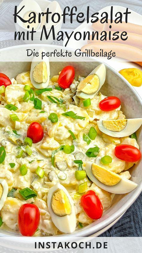 Cremiger Kartoffelsalat mit Eiern ist ein absoluter Klassiker, der das ganze Jahr hindurch gerne zubereitet und gegessen wird. Ob im Sommer als Grillbeilage, freitags zu Fisch oder mit einem leckeren Wiener Schnitzel. Mein Rezept für Kartoffelsalat mit Mayonnaise ist total einfach in der Zubereitung und schmeckt Kindern und Erwachsenen gleichermaßen gut. #kartoffelsalat #salat #grillen #grillbeilage #partysalat