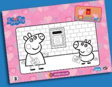 Peppa Pig Valentineu0027s Colouring Sheet