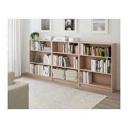 Billy Bookcase White Stained Oak Veneer 240x28x106 Cm Ikea White Bookcase Bookcase Shelves In Bedroom