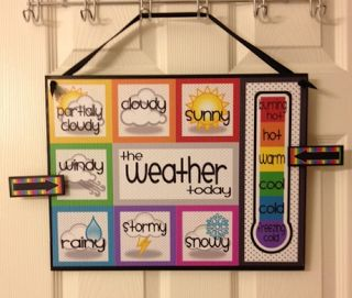 "Great visual for monitoring weather patterns. You could designate a student to be the class ""meteorologist"" for classroom jobs. You could also keep a bar graph of the weather to teach data keeping/ interpreting."