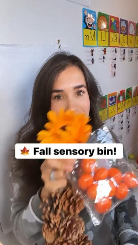 Who loves Fall sensory bins?! This one is SO easy to put together and the kids LOVE it!