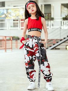 Jazz Dance Costume Kids Hip Hop Clothing Girls Street Dancing Outfit Camo Print Crop Top And Pants Halloween