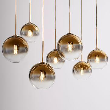 Sculptural Glass Globe 3 Light Chandelier Mixed #westelm