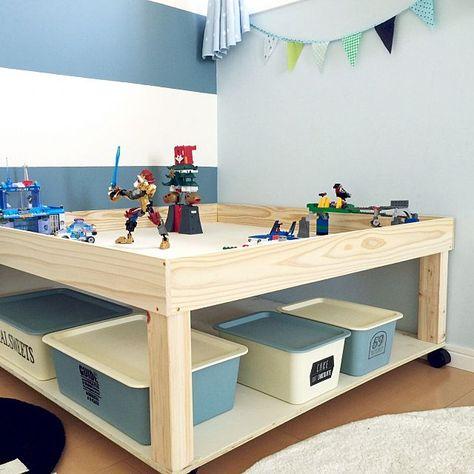 子ども思いのダイソースクエアボックス収納棚実例 画像あり プレイテーブル 収納 レゴ収納ボックス