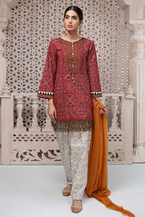 Maria B Lawn 2019 Features Embroidered Pakistani Suit Featuring Short Shirt & Printed Patiala Shalwar