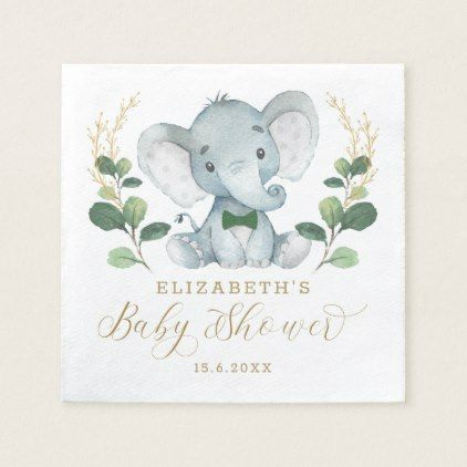 Safari Baby Shower Elephant Napkins