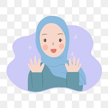 Cute Girl In Blue Hijab Say Hi Illustration In Hand Drawn Style Girl Clipart Simple Illustration Cute Png Transparent Clipart Image And Psd File For Free Dow Cute Illustration How To