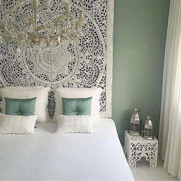 """Large King Size Bed Headboard 72"""" Bohemian Lotus Mandala Wooden Hand Craved Craving Teak Wood Art Pa #KingSizeBed"""