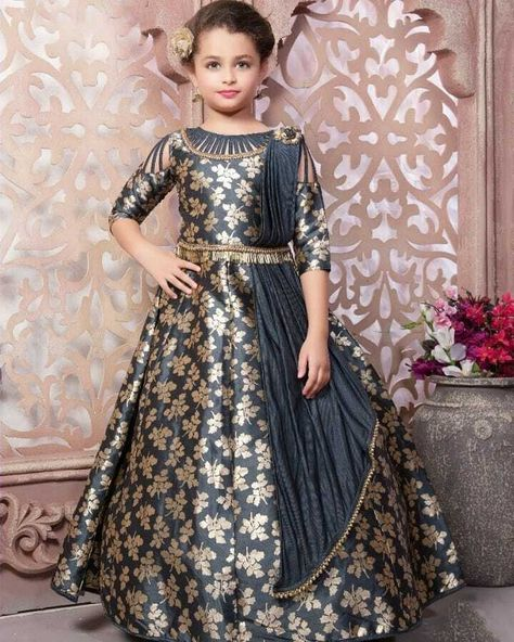Kids Gown Girls Fully Stitched Children Lehenga Frocks Designer Gowns Grey Color #girl #ideas #fashion #trend #moda