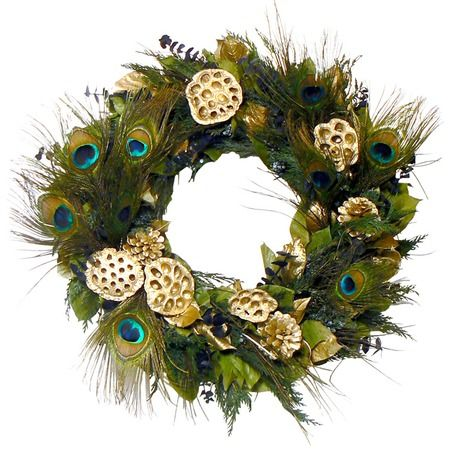 Peacock Glamour Holiday Wreath.