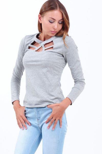 Bluz Pencereli Yaka Gri Bluz Kiz Gunluk Kisa Cool Gunluk Aksesuar Tasarim Salas Genc Kadin Otantik Spor Firsat Indirim Bluz Bluz Modelleri Gri