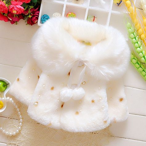 2019 Faux Fur Coats for Baby Girls Autumn Winter Clothes Child Wool Outwear Girl Beadings Shawl Kids warm shoulders Kids Costume - Fave Baby Kids Winter Fashion, Winter Outfits For Girls, Kids Outfits, Baby Girl Dresses, Baby Dress, Ebay Clothing, Baby Girl Patterns, Cape Coat
