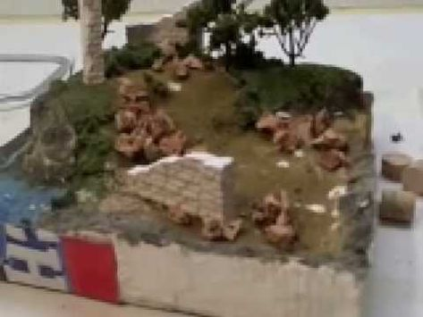 Diorama Making Tutorial: How to use cork to make rubble. Link to website also.