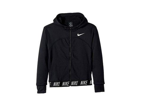 4386ea94db1 Nike Kids Dry Studio Full Zip Hoodie (Little Kids Big Kids)  (Black Black White) Girl s Sweatshirt. Take her back-to-school style game  to the next level with ...