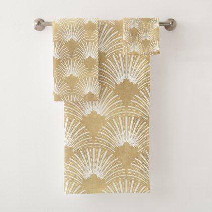 White Gold Art Deco Pattern Bath Towel Set Zazzle Com Gold