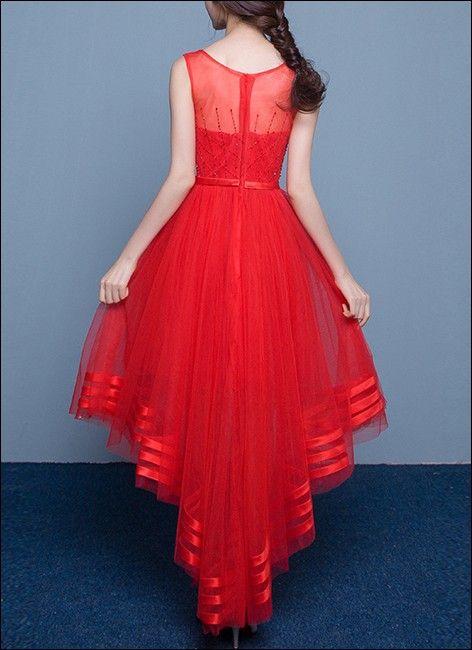 Rotes Vokuhila Kleid Aus Spitze Und Tull Vokuhila Kleid Kleid Spitze Brautmode