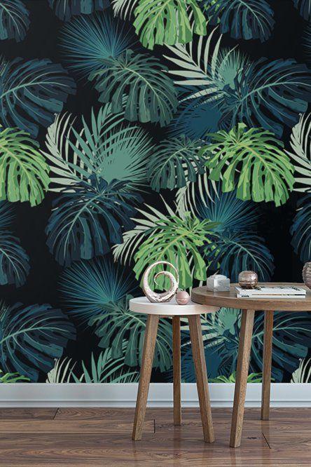 Monstera Wallpaper Monstera Leaves Tropical Wallpaper Dark Wallpaper Monstera Mural Removable Wallpaper Peel Tropical Wallpaper Dark Wallpaper Wallpaper
