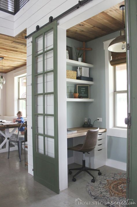 Our Tiny Home Office Reveal! Tiny Home Office, Home, Small House Design, Small Space Office, Sweet Home, Home Remodeling, New Homes, House, Small Home Office