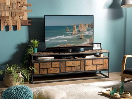 Meuble Tv Santa Ana 4 Teck Recycle Meuble Tv Bois Meuble Tv