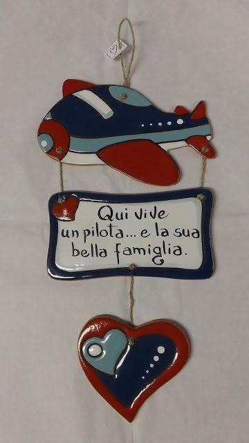 ceramica come mestiere: Un tenero regalo di una moglie a suo marito pilota...