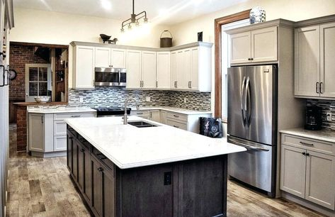 Gray And White Modern Kitchen Wall Colors With Cabinets