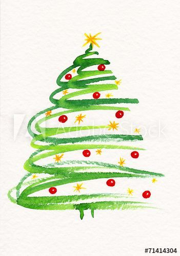 Watercolor Painting Christmas Tree With Baubles And Stars