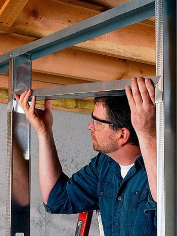 How To Frame With Metal Studs Metal Stud Framing Steel Frame Construction Plasterboard Wall