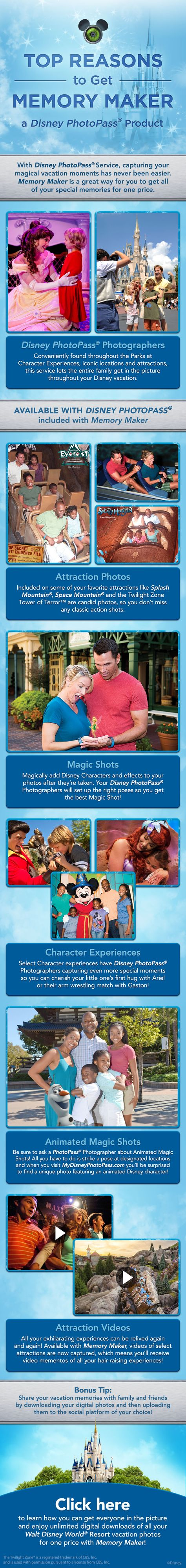 Learn how Memory Maker from Disney PhotoPass can capture all of your special moments from your Walt Disney World vacation! Ready to start making your own Magical Memories? Contact me today for your free, no obligation quote! donnakay@thewdwguru.com or 877-825-6146 ext 706