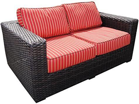 Teva Patio Santa Monica Wicker Rattan Patio Love Seat With Sunbrella Fabricbenjara Fabric Upholstered Sofa With Trac Sofa Bed Blue Upholstered Sofa Tufted Sofa