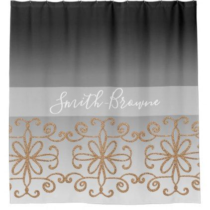 Shower Curtain Ombre Black White Rose Gold Chic Design Idea Diy
