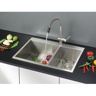Akdy 32 X 22 Drop In Kitchen Sink With Basket Strainer Drop In Kitchen Sink Best Kitchen Sinks Sink